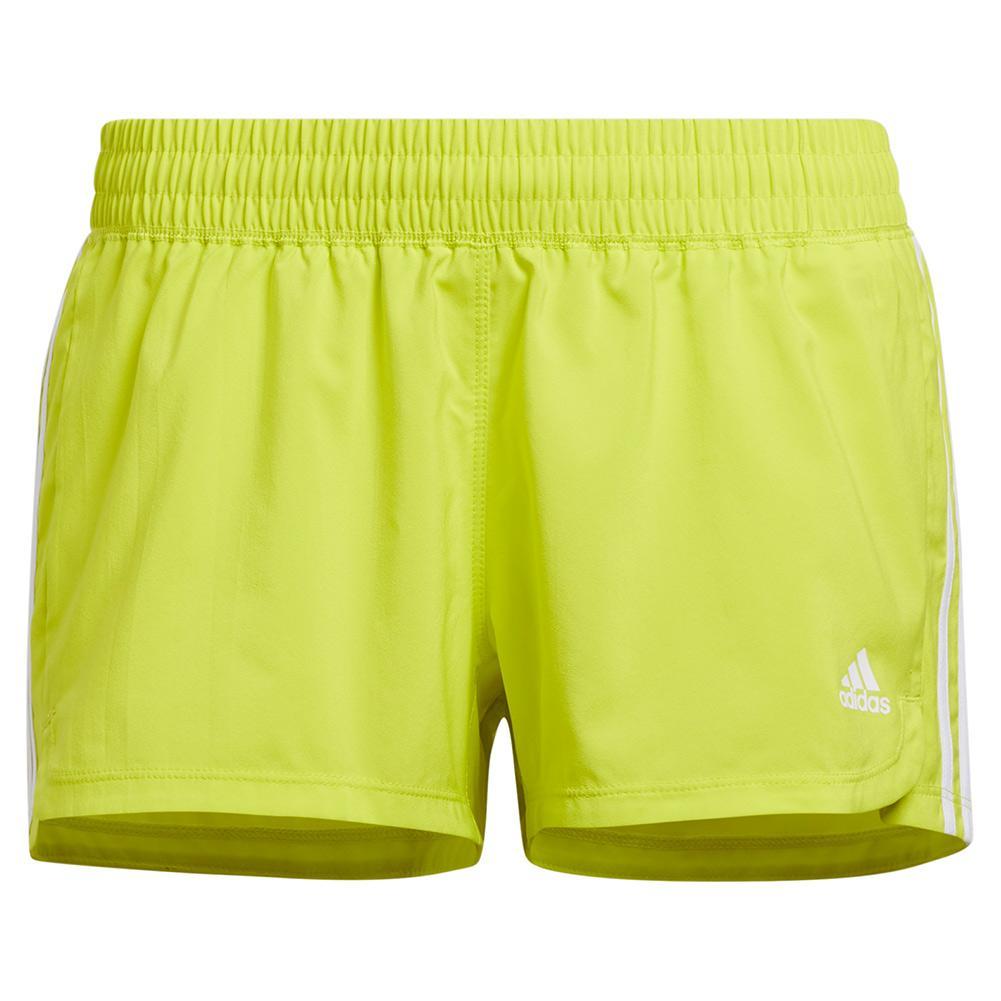 Women's Pacer 3- Stripe Woven Training Short Acid Yellow And White