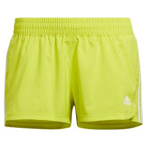 Women`s Pacer 3-Stripe Woven Training Short Acid Yellow and White
