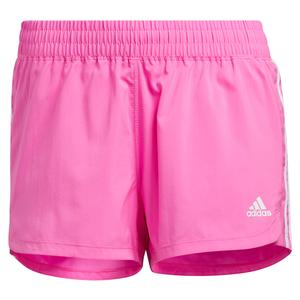 Women`s Pacer 3-Stripe Woven Training Short Screaming Pink and White