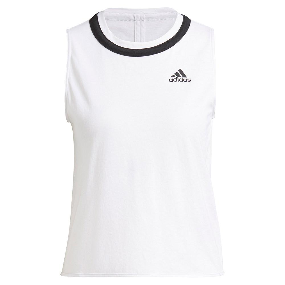 Women's Club Knotted Tennis Tank White And Black