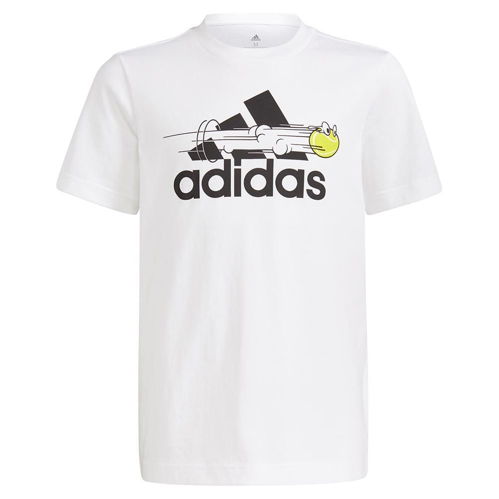 Boys ` Category Graphic Short Sleeve Tennis Tee White