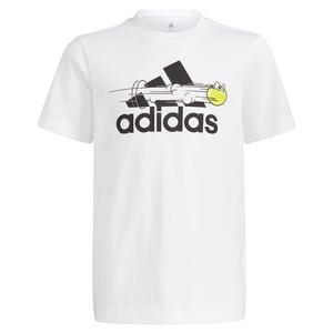 Boys` Category Graphic Short Sleeve Tennis Tee White