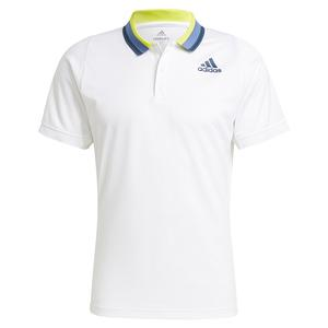 Men`s Primeblue HEAT.RDY FreeLift Tennis Polo White and Crew Navy