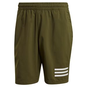 Men`s Club 3-Stripe 9 Inch Tennis Short Wild Pine and White