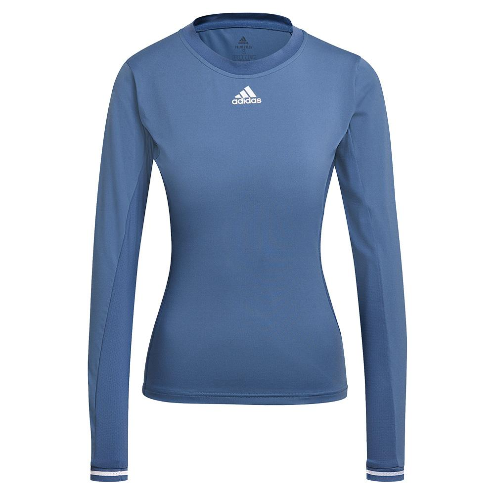Women's Freelift Heat.Rdy Long Sleeve Tennis Top Crew Blue And White