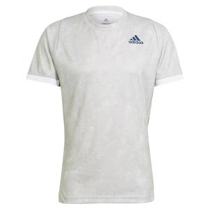 Men`s Primeblue HEAT.RDY FreeLift Tennis Top Grey Two and White