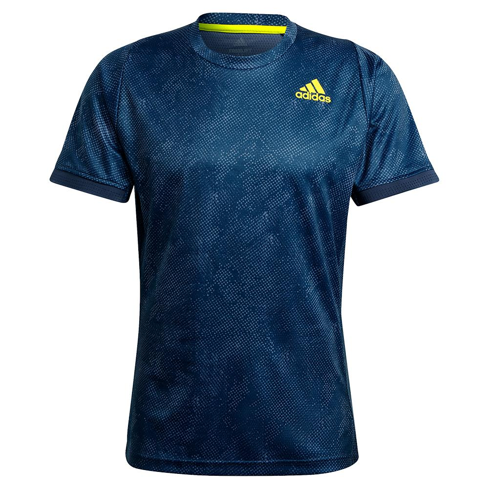 Men's Primeblue Heat.Rdy Freelift Tennis Top Crew Navy And Acid Yellow
