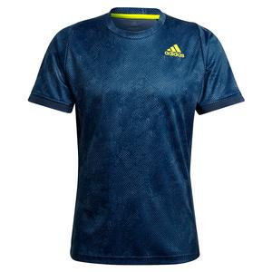 Men`s Primeblue HEAT.RDY FreeLift Tennis Top Crew Navy and Acid Yellow