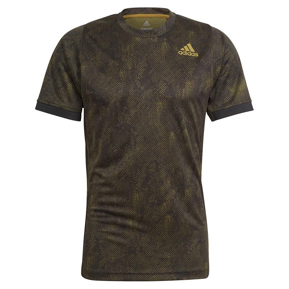 Men's Primeblue Heat.Rdy Freelift Tennis Top Black And Wild Moss