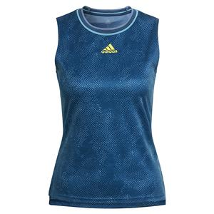 Women`s Primeblue Printed Match Tennis Tank Crew Navy and Acid Yellow