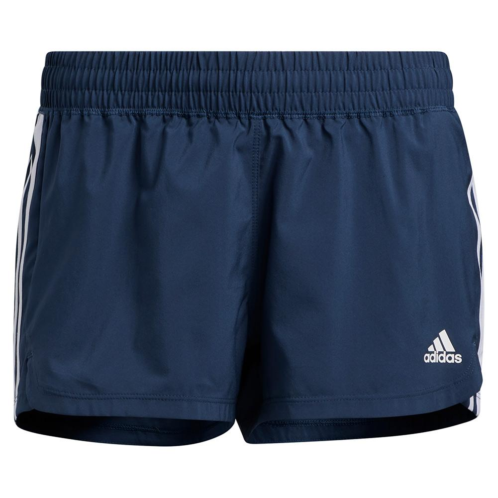 Women's Pacer 3- Stripe Woven Training Short Crew Navy And White