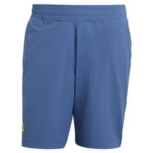 Men`s Primeblue Ergo 9 Inch Tennis Short Crew Blue and Acid Yellow