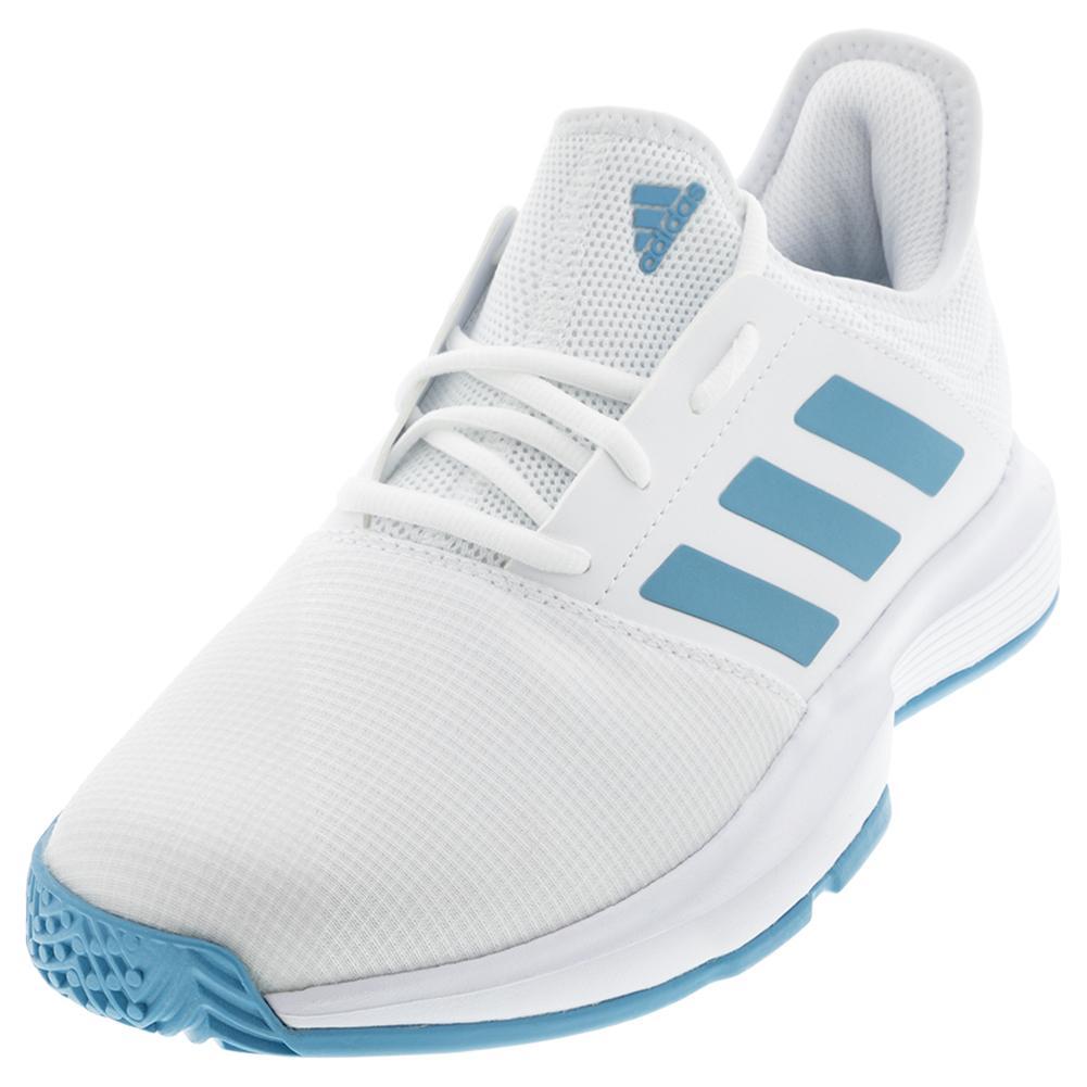 adidas Men`s GameCourt Tennis Shoes Footwear White & Hazy Blue