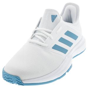 Men`s GameCourt Tennis Shoes Footwear White and Hazy Blue