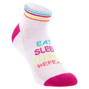 Women`s Eat Sleep Tennis Repeat Low Cut Socks White