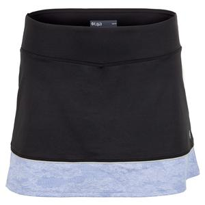 Women`s Borderline Tennis Skort Black and Sky Blue