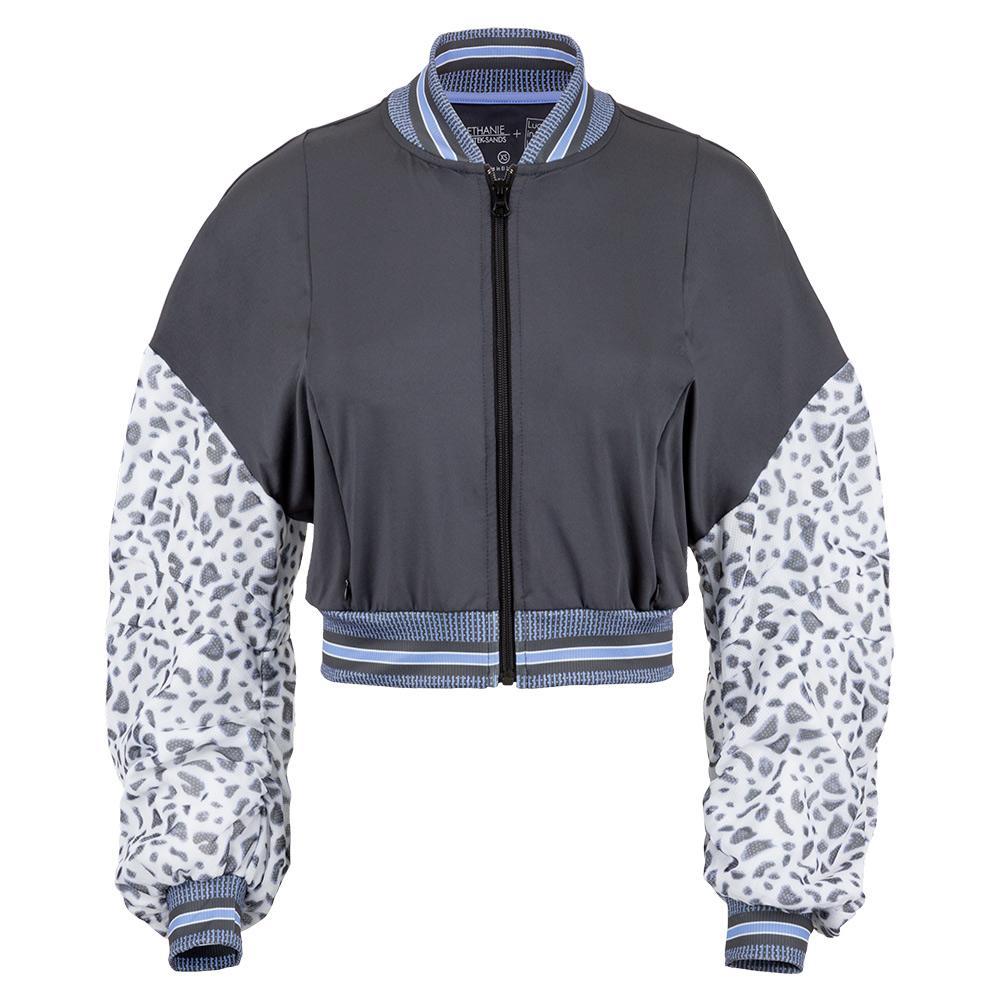 Women's Prowl Cropped Tennis Bomber Jacket Charcoal And Leopard