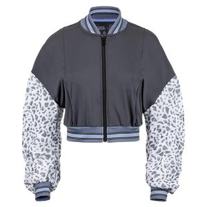 Women`s Prowl Cropped Tennis Bomber Jacket Charcoal and Leopard