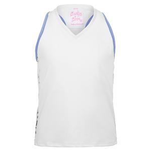 Girls` Party Animal V-Neck Tennis Tank White