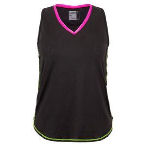Women`s Micro Incline Tennis Tank Black and Pitaya Trim