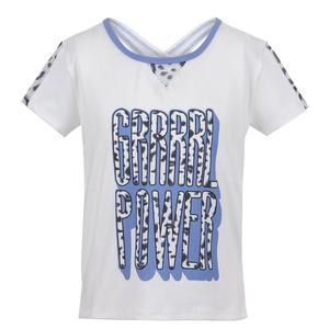 Girls` Grrrl Power Tennis Tee White