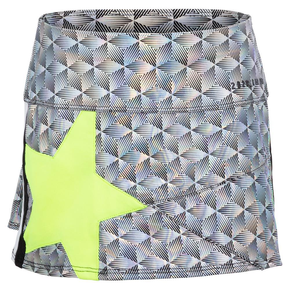 Girls ` Mini Pop Star Tennis Skort Black Iridescence And Neon Yellow