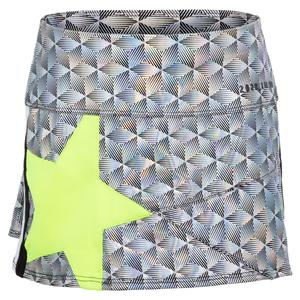 Girls` Mini Pop Star Tennis Skort Black Iridescence and Neon Yellow