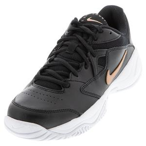 Women`s Court Lite 2 Tennis Shoes Black and Metallic Red Bronze