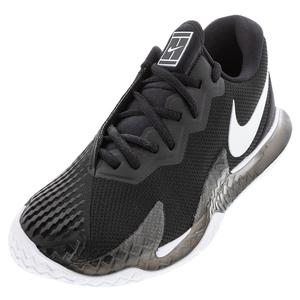 Men`s Court Air Zoom Vapor Cage 4 Tennis Shoes Black and White