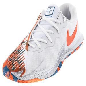 Men`s Court Air Zoom Vapor Cage 4 Tennis Shoes White and Team Orange