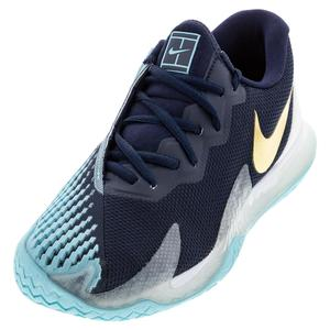 Men`s Court Air Zoom Vapor Cage 4 Tennis Shoes Obsidian and Metallic Gold