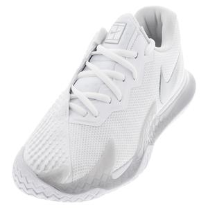 Women`s Court Air Zoom Vapor Cage 4 Tennis Shoes White and Metallic Silver