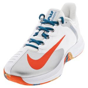 Men`s Court Air Zoom GP Turbo Tennis Shoes White and Team Orange
