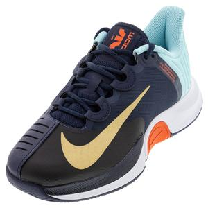 Men`s Court Air Zoom GP Turbo Tennis Shoes Obsidian and Metallic Gold