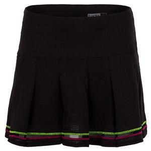 Women`s Long Micro Tuck Pleat Tennis Skort Black