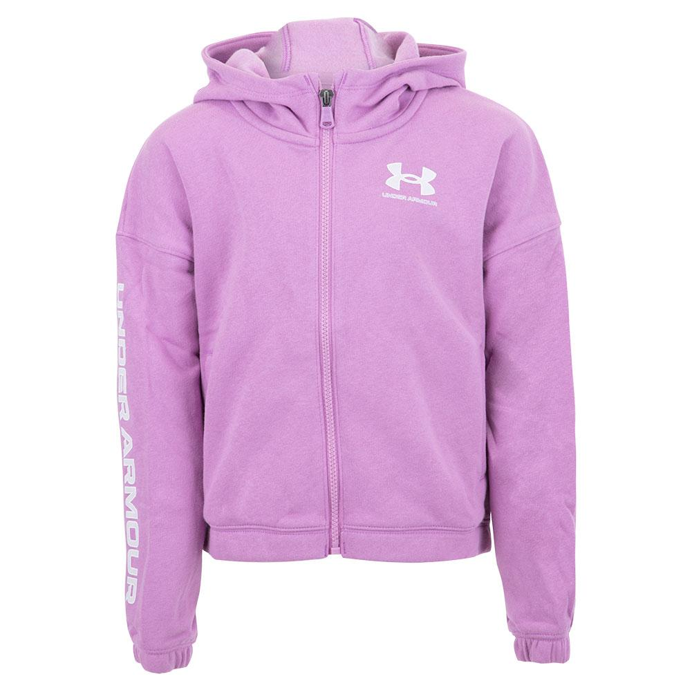 Girls ` Ua Rival Fleece Full Zip Hoodie Exotic Bloom And White