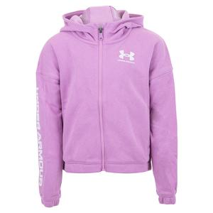 Girls` UA Rival Fleece Full Zip Hoodie Exotic Bloom and White