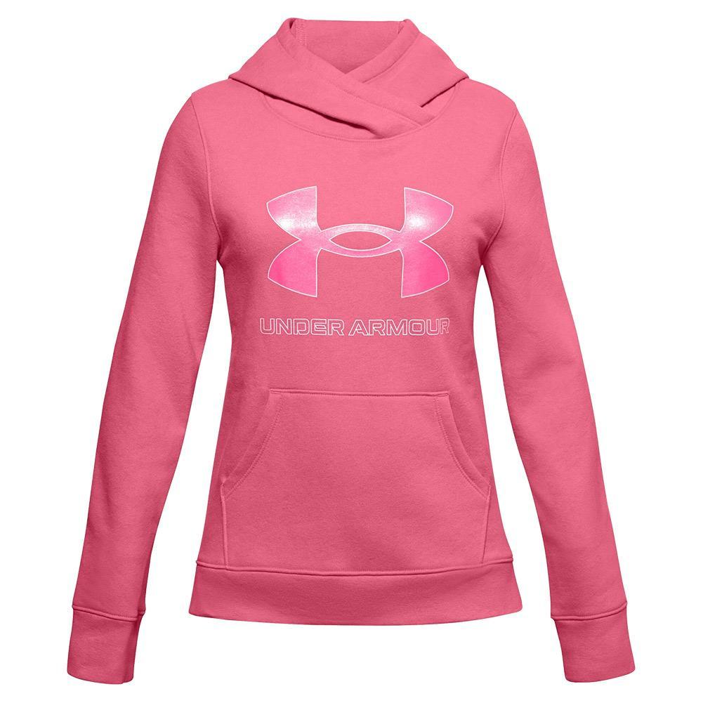 Girls ` Ua Rival Fleece Logo Hoodie Pink Lemonade And White