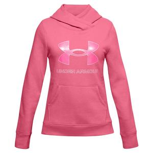 Girls` UA Rival Fleece Logo Hoodie Pink Lemonade and White