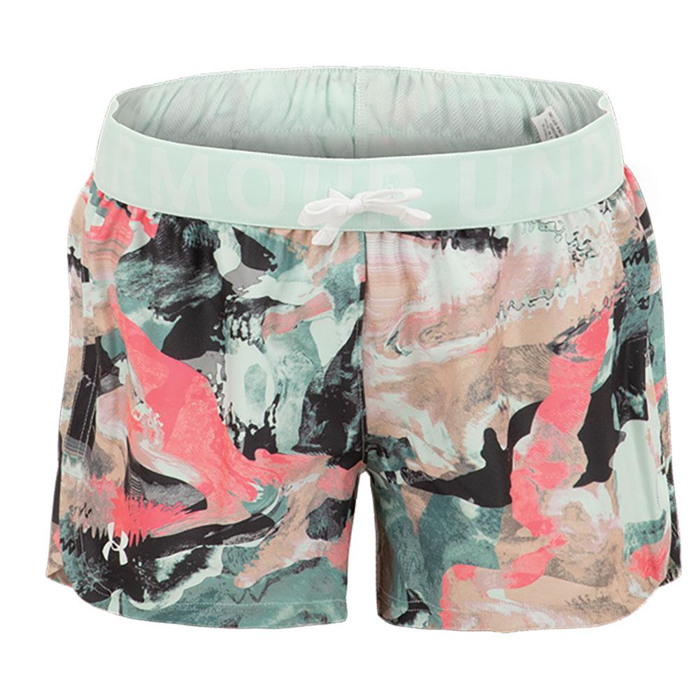 Girls ` Ua Play Up Printed Shorts Seaglass Blue And White