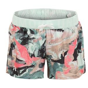 Girls` UA Play Up Printed Shorts Seaglass Blue and White