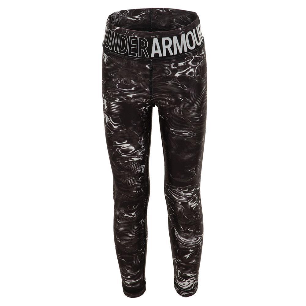 Girls ` Heatgear Armour Printed Crop Black And Halo Gray