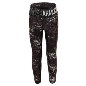 Girls` HeatGear Armour Printed Crop Black and Halo Gray