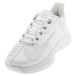 Women`s Court Air Zoom GP Turbo Tennis Shoes White and Metallic Silver