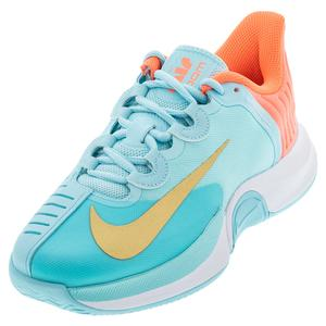 Women`s Court Air Zoom GP Turbo Tennis Shoes Copa and Metallic Gold