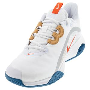 Men`s Court Air Max Volley Tennis Shoes White and Team Orange