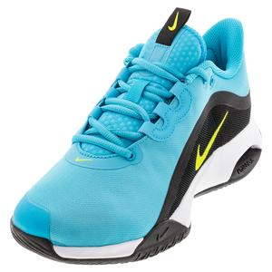 Men`s Court Air Max Volley Tennis Shoes Chlorine Blue and Cyber Black