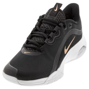 Women`s Court Air Max Volley Tennis Shoes Black and Metallic Red Bronze