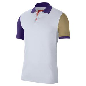 Men`s Melbourne Team Slim-Fit Tennis Polo White and Wild Berry