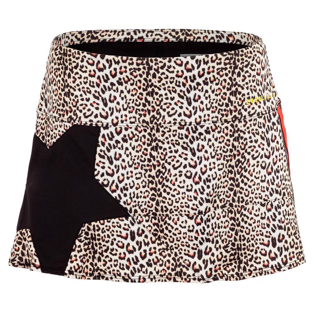 Women's Wild Star Tennis Skort Leopard Print And Black
